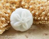 RESERVED for kcorazzini75 - Sand Dollar Handmade Lampwork Bead, SINGLE Soft White Beach Glass