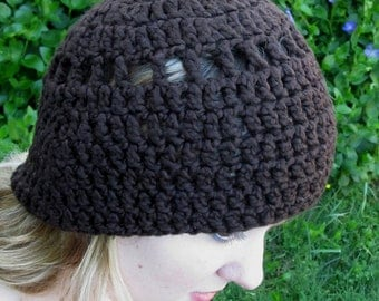 Beanie Hat, Chocolate Brown, Organic Cotton, Crochet
