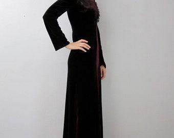 Vintage 90's Black Burgundy Velvet Lace Trim Renaissance Maxi Dress Witchy Vamp Goth S