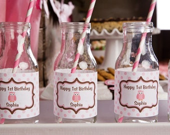 Owl Themed Water Bottle Labels - Owl Birthday Party Decorations in Pink and Brown (12)