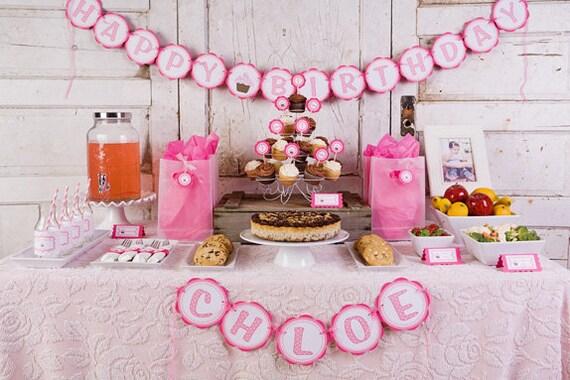 BIRTHDAY Banner - Cupcake Theme Party Decorations - Cupcake Birthday ...