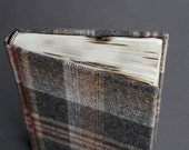 Woolen camping journal with upcycled tartan fabric and burnt edges