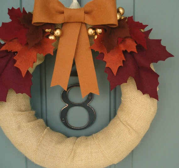 Burlap & Felt Handmade Door Decoration -  Fall Leaves 12in