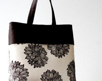 Ivory and dark chocolate brown floral handbag...3 slip pockets...large organic cotton vegan tote bag...lightweight summer bag...on sale!