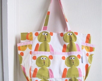 Vintage Teddy Bear Upcycled Baby Bag - Eco Friendly Kids Gift - Pink and White Stripes and Retro Bear Print - Toddler / Travel / Mommy Tote