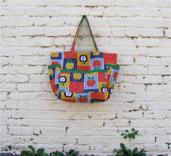 Apple of My Eye Upcycled Shopper - Bright  Multi Color Calico Print Tote / Teacher / Diaper Bag - Country Chic
