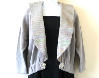 Sweater - Jacket - Silver Gray - Cotton Linen - Sequins - Shawl Collar - Wedding - 80s - Recycled - Tuxedo - Ragland