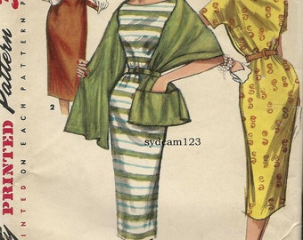 Vintage 1955 Rolled Collar Chemise Dress Pattern Collarless or Standaway Neckline Stole w Pocket...Simplicity 1446 Bust 32