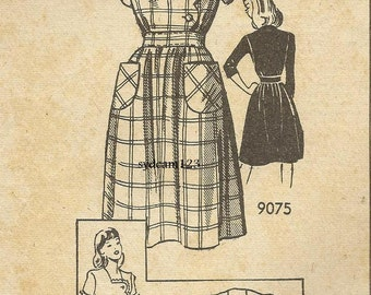 Vintage 1940s Scalloped Bodice and Sleeve Dress Pattern Patch Pockets Mail Order 9075 Bust 32