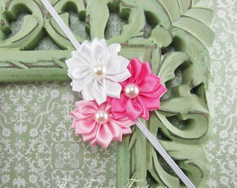 Satin Flower Headband, White, Pink & Hot Pink Satin Flower Trio w/ Pearls Headband or Hair Clip, The Emily, Baby Child Girls Headband