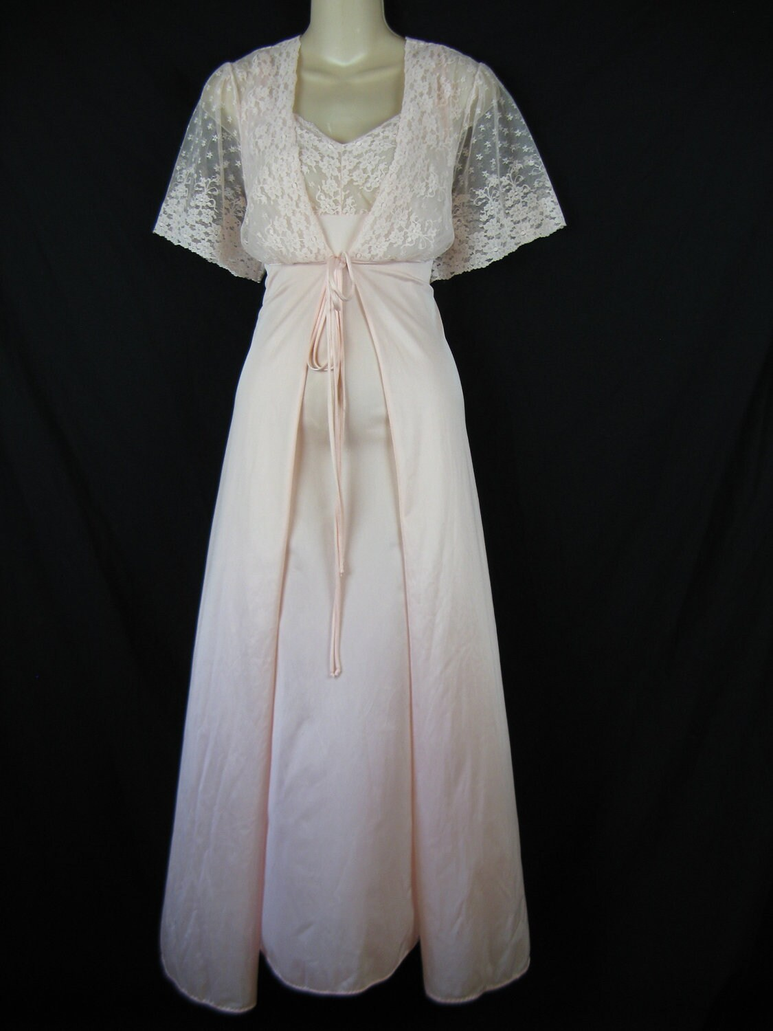 Lace Peignoir Set 1970 S Pink Lace Wedding Nightgown And