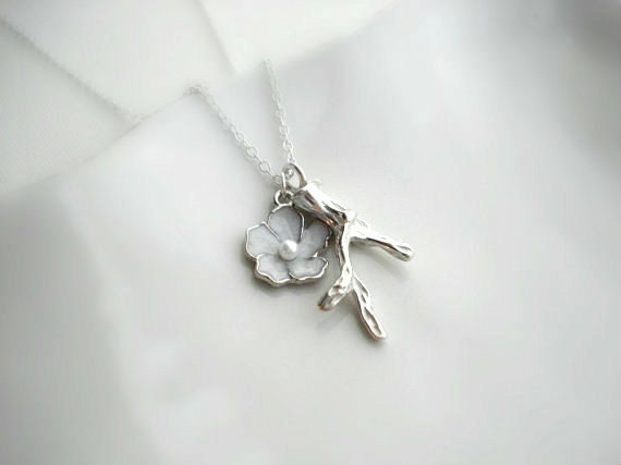 Flower Branch Necklace In Silver, Twig Necklace. Sakura Blossom, Cherry Blossom, Wedding Jewelry, Pendant