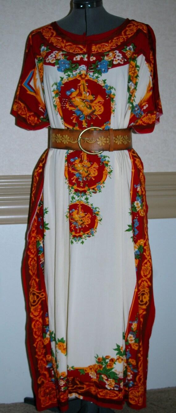 Vintage  70's Batik Dress //  Groovy Caftan Dress Batik