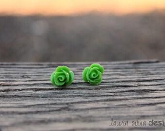 Green Rose Cabochon Earrings