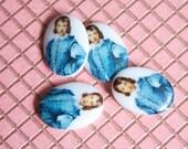3 Vintage Blue Boy Cabochons