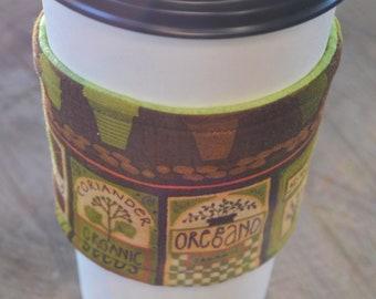 Reversable Coffee Cozy Herb Lover's