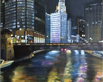 Chicago Night Oil Painting - 12x18in Giclee Print