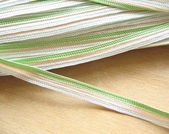 Green, Pale Pink and Pale Blue Stripes Vintage Ribbon Braid - Pastel Stripe Trim - Vintage Trimming - Pastel Ribbon