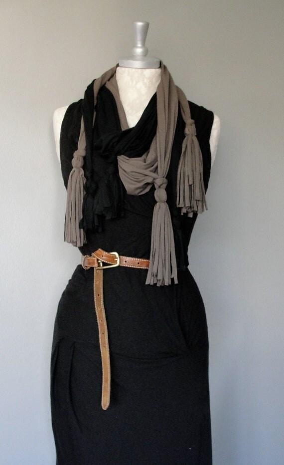 SALE - tassel scarf set by FAIRYTALE13 black and dark olive.