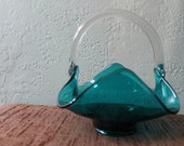 Turquoise Glass Basket