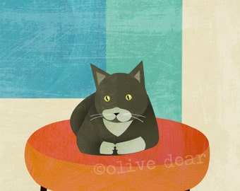 ottoman cat fine art reproduction print - LARGE size