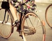 Pedaling happily - 8x12 bikes print art, biker bicycle print, vintage bike, bikes wall art photo '30 stye old bike style