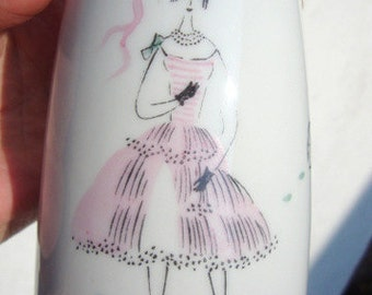Vintage Mid Century Pink Lady In Frills Hand Painted Pitcher