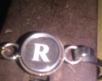 R typewriter key bracelet