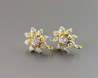 2 Clear crystal CZ Cubic Zirconia flower earrings, gold crystal earrings, bridal / wedding E1717-BG earrings