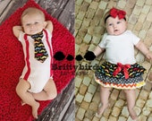 Boy girl Twin outfits - Mustache and Chevron Girls Ruffle Onesie Dress and Boys Suspender and Tie (short or long sleeve)