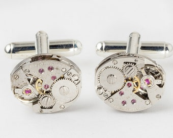 Steampunk Cufflinks Vintage Hamilton Watch Movements for Wedding Anniversary Gift, Grooms Formal Wear, Silver Cuff Links Mens Jewelry 2924
