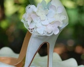 Bride Shoe Clips Beige Ivory Pink Celadon Hydrangeas & Lace. Spring Wedding Fashion, Vintage Style Couture. Apple Green. Bloom Bunch Blossom