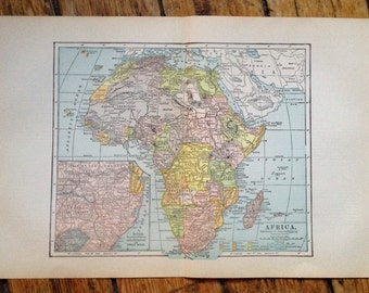 1910 ANTIQUE AFRICA MAP - original antique print - lithograph print guide atlas globe chart plan cartography - African continent map