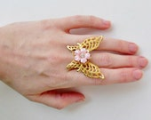 Vintage Gold and Pink Floral Butterfly Adjustable Ring