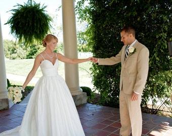 Alencon Lace and Taffeta Coco Style Wedding Dress