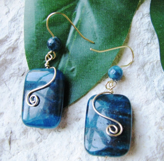 Apatite Earrings - Gold Wire Wrapped Apatite Earrings - Wire Wrapped Earrings