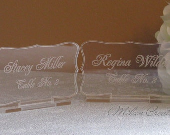 Acrylic Place Cards for Wedding Reception Guest
