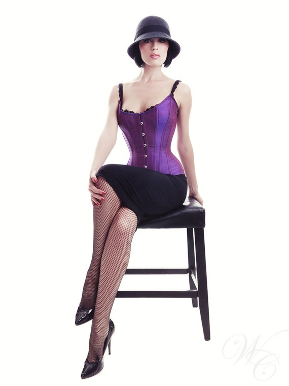"35% Off - 22"" READY TO WEAR - Purple Scoop Overbust Corset, Tightlacing (Sample Sale)"