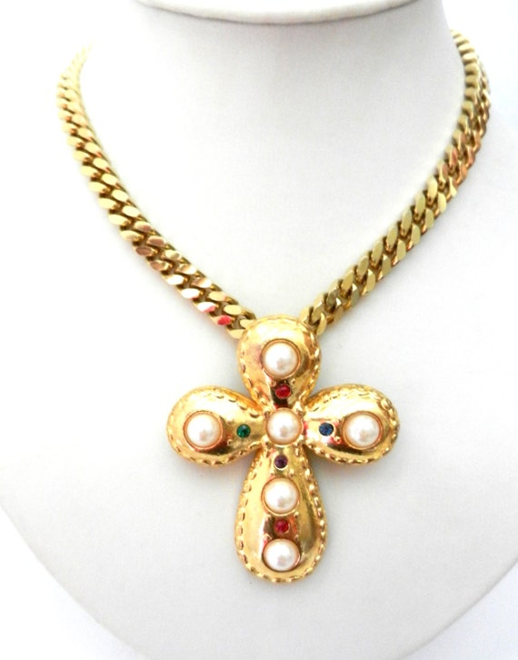Vintage Italian 1960 -  gorgeous cross and  gorgeous chain -art.578-