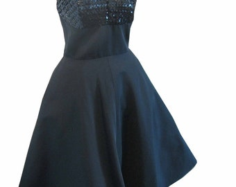 Designer Nat Tuman Vintage 50's Marilyn Halter Dress with Sequins and Full Skirt  36 - 24 - full