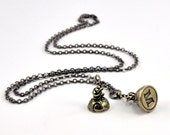 Silver White Bronze LETTER Seal Stamper Necklace by Gwen Delicious Jewelry - Usable Seal Stamp