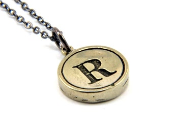 Initial R Necklace -  Typewriter Key Letter R Pendant White Bronze Necklace - Other Letters Available