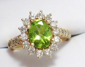 GIA report stunning 14k gold green peridot solitaire accented w/ diamonds ballerina / halo / cocktail ring band size 6.5