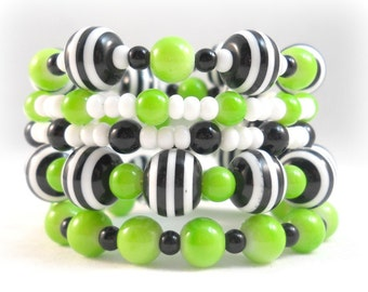 Bracelet Set Lime Green Black and White Colorful Chunky Bracelet Stack Trendy Summer Jewelry Arm Candy Teen Girl Gifts Jewelry for Teens