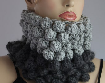 Chunky Knit  -  Crochet Bubble Tube Cowl Scarf - Headband - Neck Warmer
