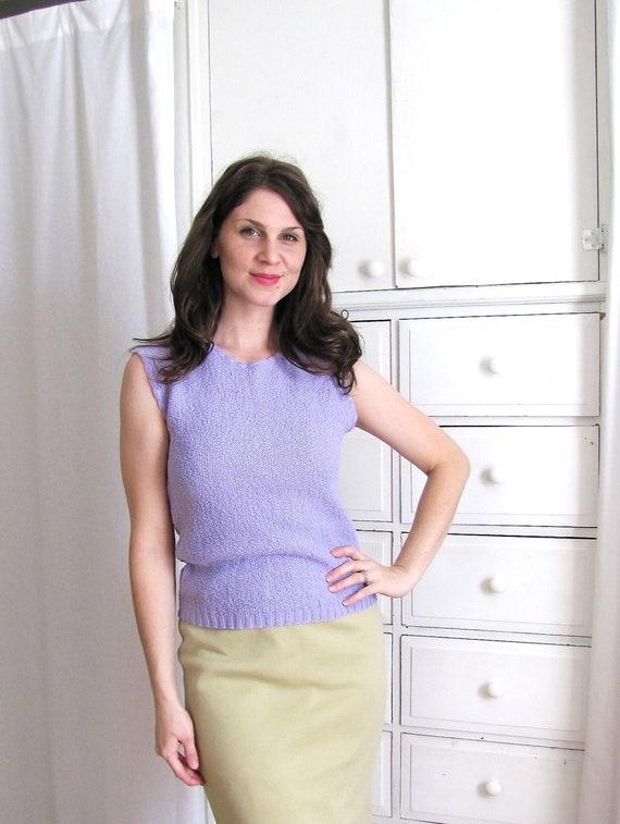 Vintage 1960's Lilac Purple Knit Sweater Blouse