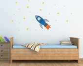 Rocket Wall Decal with Boys Name and stars - Personalized Vinyl Wall Art - Children Wall Decals