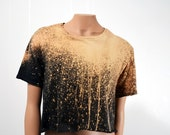 Grunge Black Crop Top Bleached T Shirt Women's Loose Fit Oversize Small