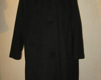 Vtg 50s Black Cashmere/Wool Honey Mink Collar LUXE Dressy Winter Coat 50 in Bust
