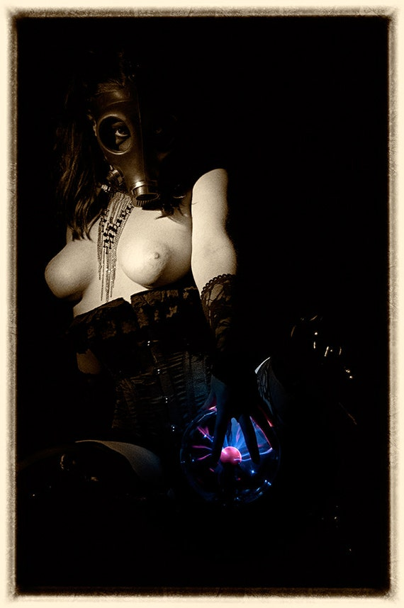 Fetish nude curvy female gas mask sepia photography ART - Wanted - 10